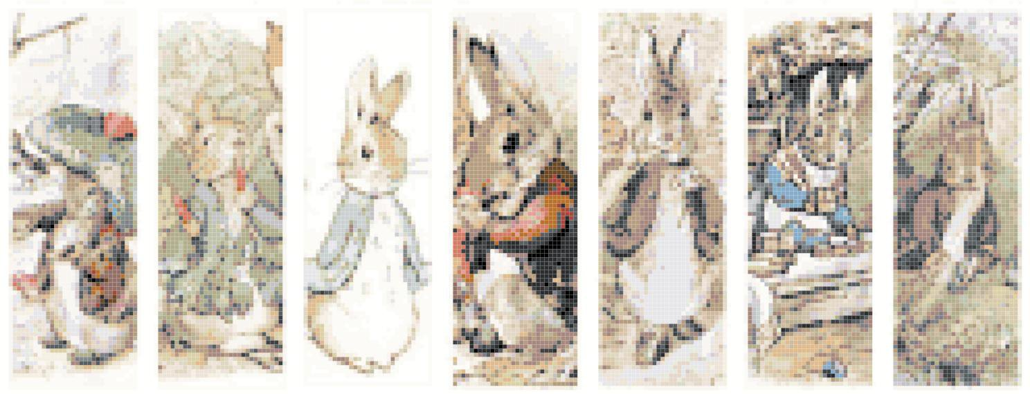 counted Cross Stitch 7 bunny by B. Potter bookmark 248*95 stitches E996