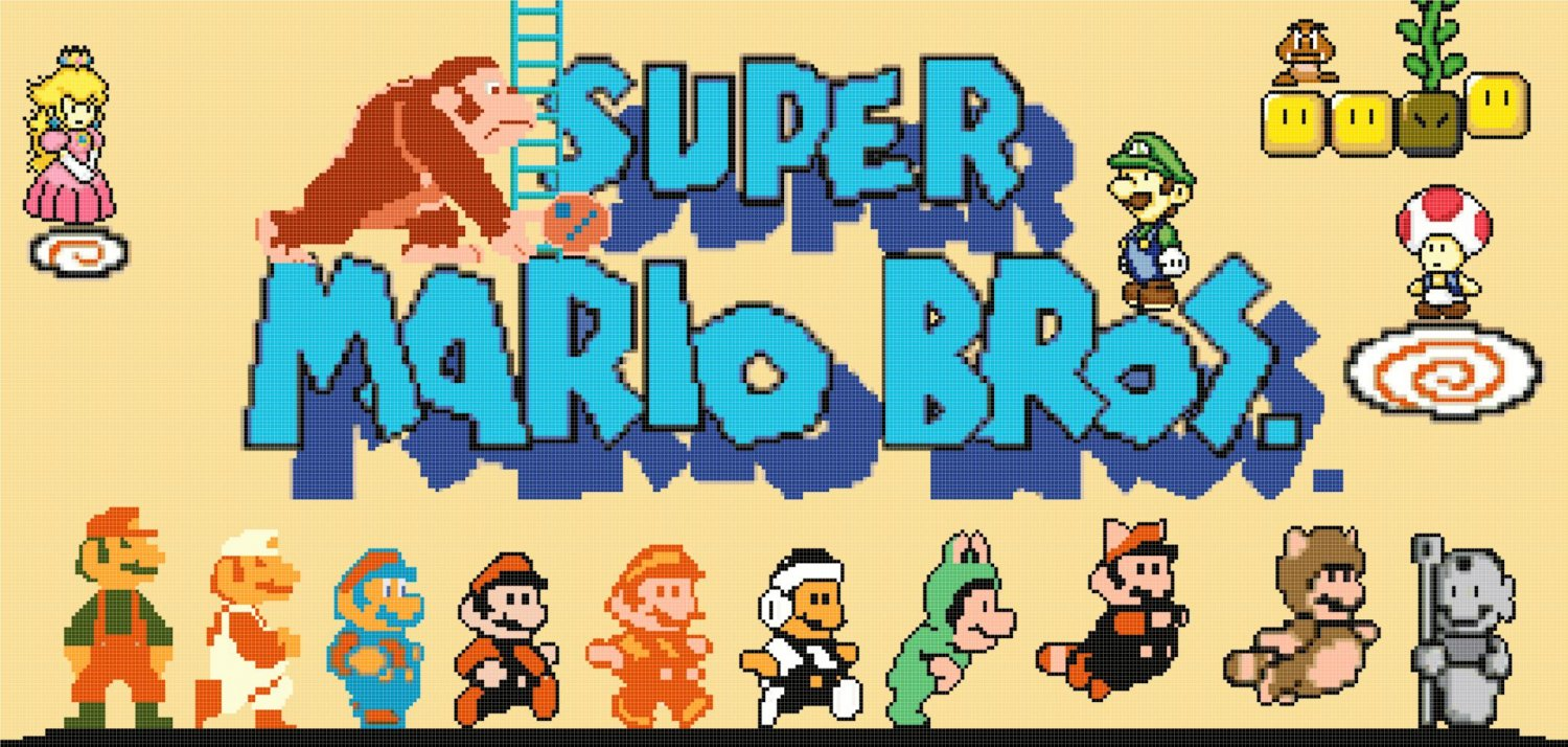 counted Cross Stitch Pattern mario bros with characters 418x199 stitches E2101