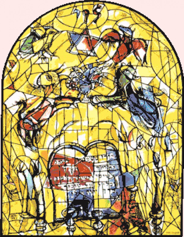 counted cross stitch pattern chagall levi window stained 276x354 stitches E1358