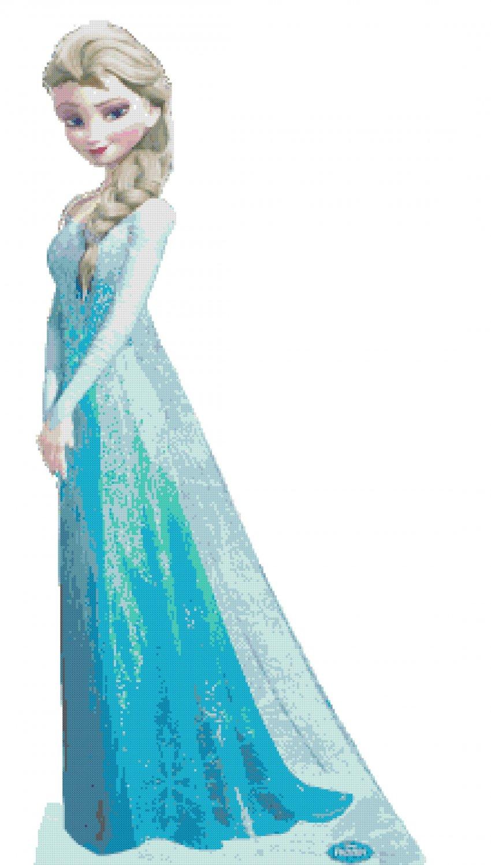 counted cross stitch pattern Princess Elsa pose frozen 176 x 379 stitches E327