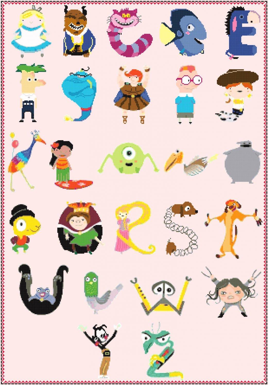 Counted cross stitch pattern alphabet disney characters 307x443 stitches E2343