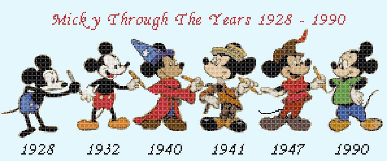 Counted Cross Stitch pattern disney Mickey timeline 294x115 stitches E1724
