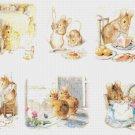 counted cross stitch pattern six scene bunny B. Potter 318x210 stitches E1152