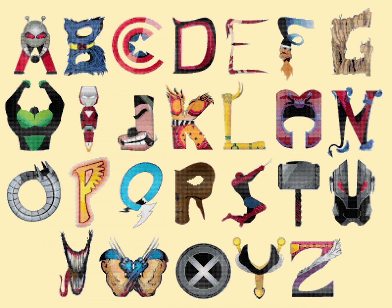 counted cross stitch pattern alphabet marvel ABC chart 386x297 stitches E1677