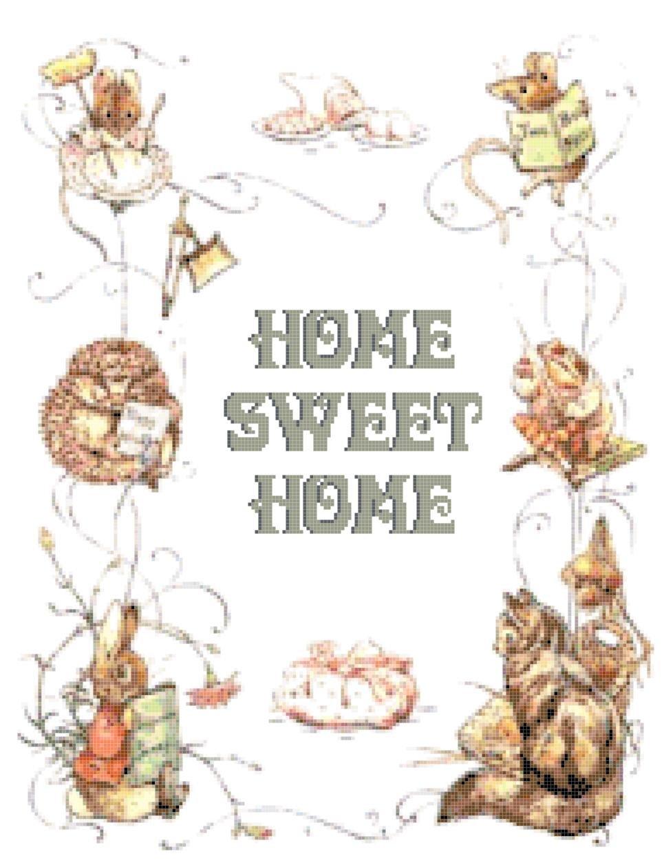 counted cross stitch pattern Home sweet home potter pdf 185x237 stitches E1155
