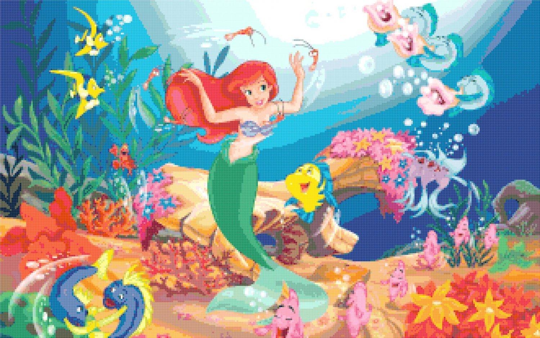 Counted cross stitch pattern Ariel mermaid princess 331*207 stitches E949