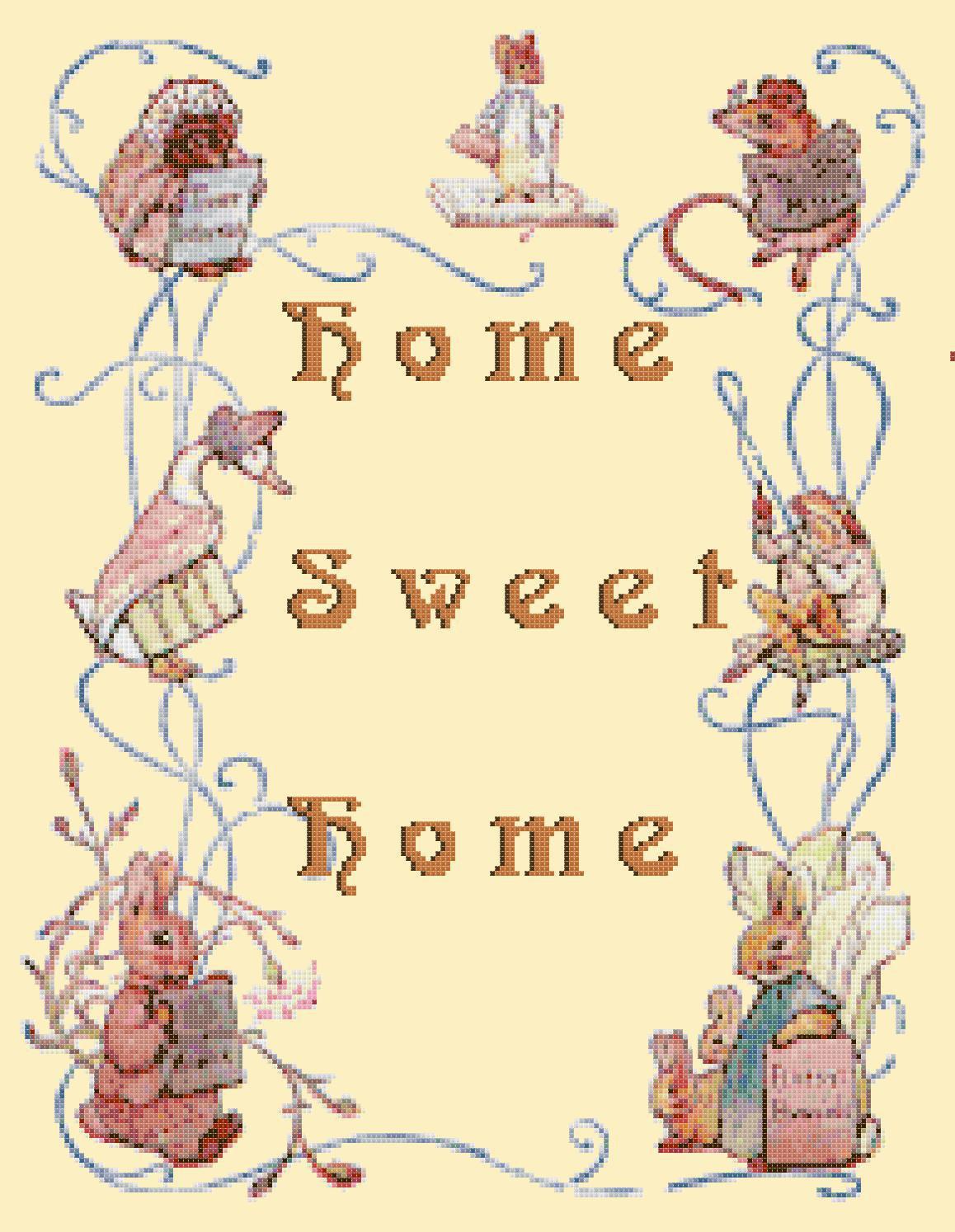 counted cross stitch pattern Home sweet home potter pdf 279x237 stitches E1241