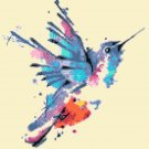 Counted Cross Stitch pattern watercolor hummingbird pdf 133x138 stitches E1491