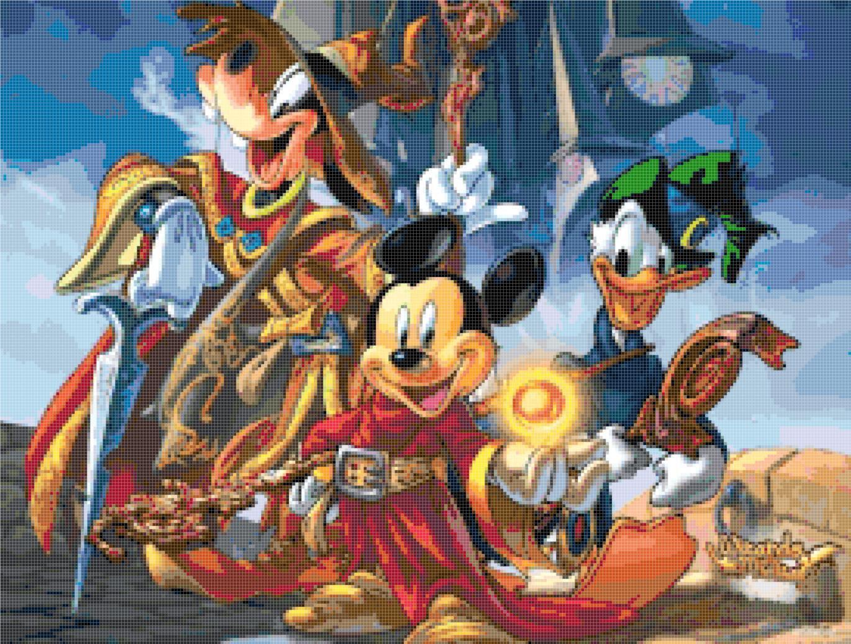 counted cross stitch pattern Disney Mickey wizard pdf 274*207 stitches E533