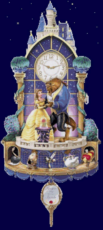 counted cross stitch pattern beauty beast cuckoo clock 188x424 stitches E2156