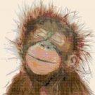 Counted Cross Stitch pattern watercolor monkey pdf chart 192x215 stitches E2191