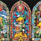 Counted Cross stitch pattern 5 hyrule windows stained glass 326x123 stitches E973