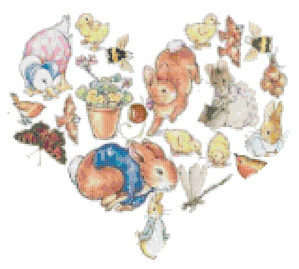 Counted cross Stitch Pattern beatrix potter into heart 151x132 stitches E1538