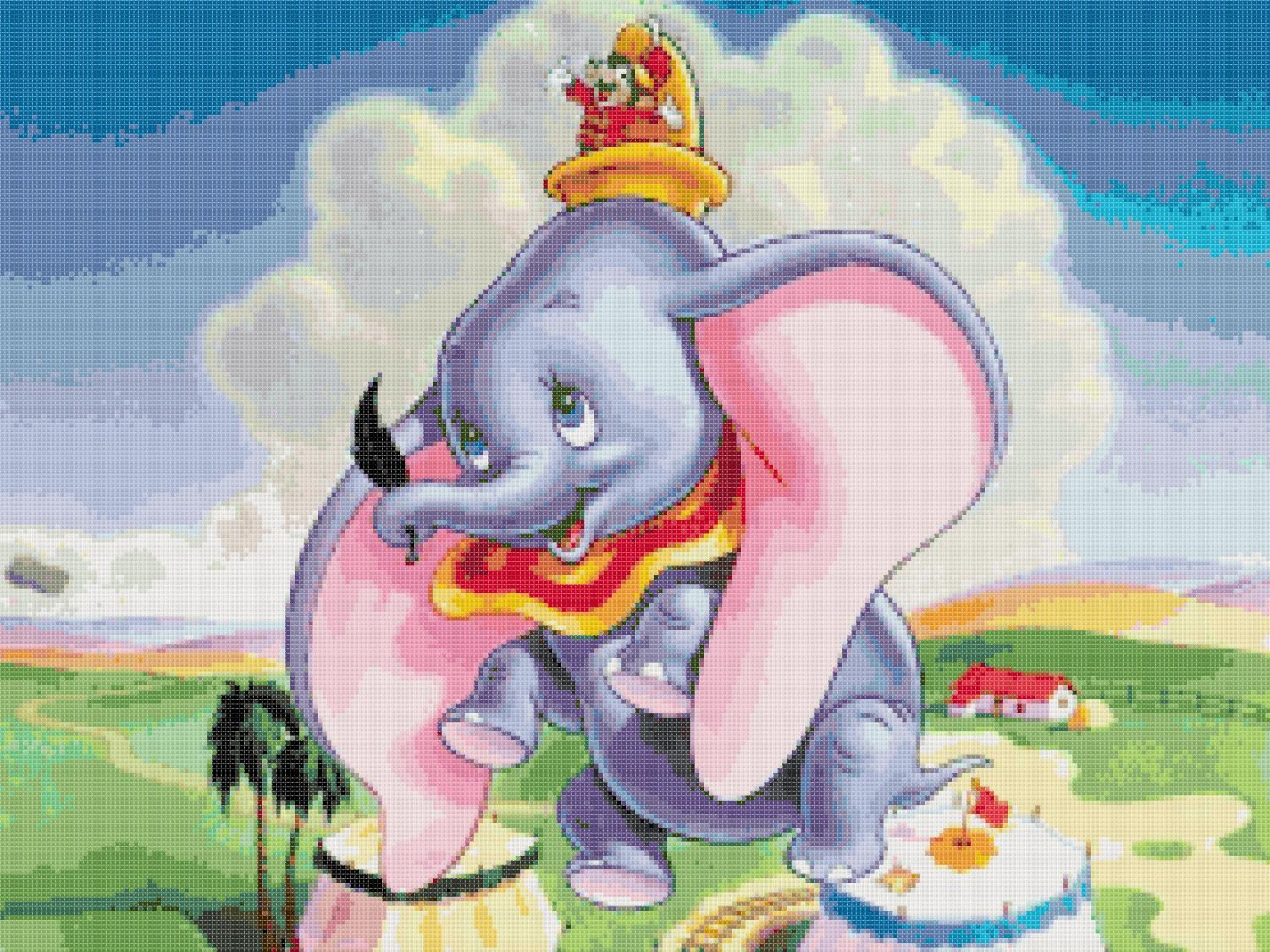 counted Cross stitch pattern Dumbo in the sky disney 276x207 stitches E967