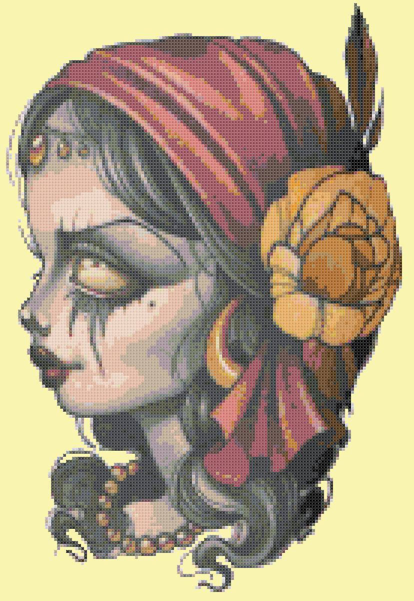 counted cross stitch pattern dead girl sugar skull 132x196 stitches E1490