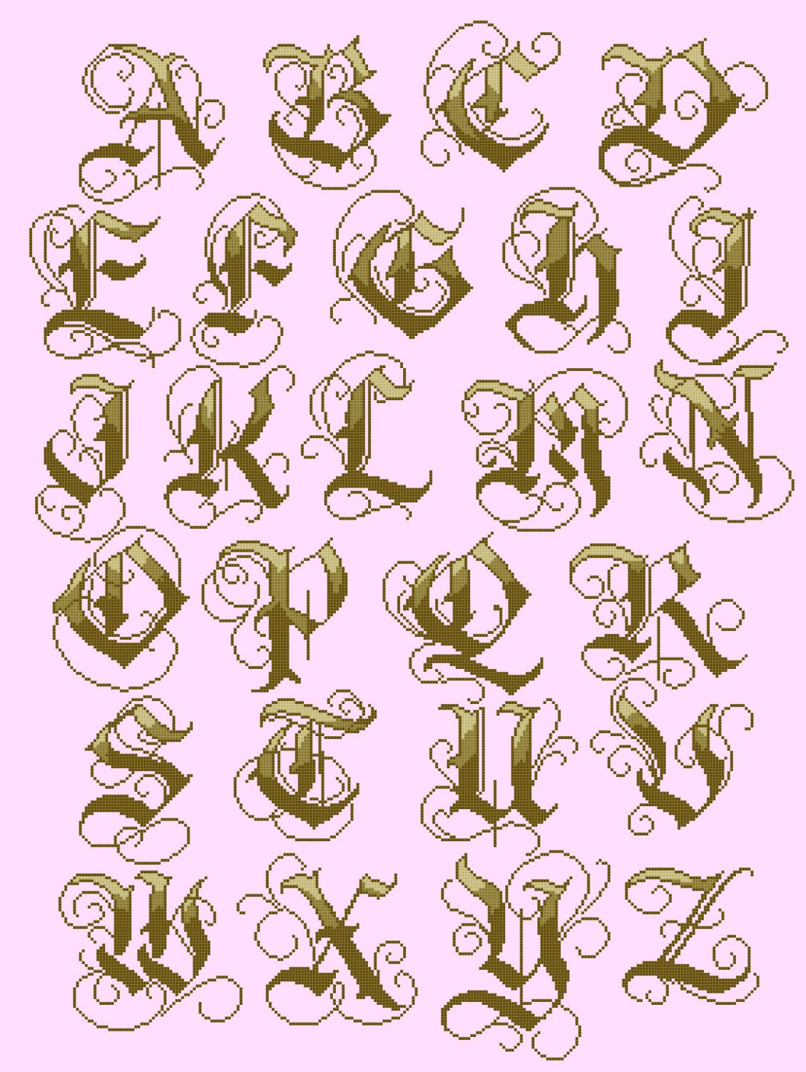 counted cross stitch pattern Old gothic gold alphabet 262*356 stitches E1681