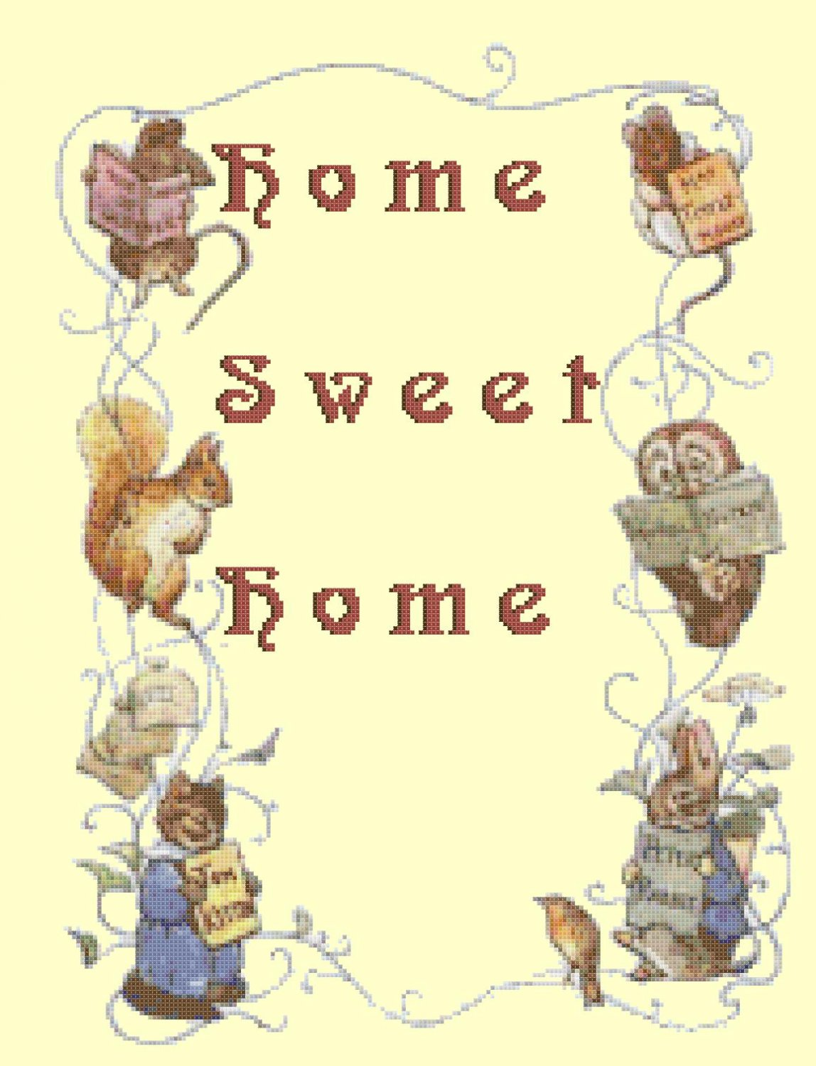 counted cross stitch pattern Home sweet home potter pdf 175*237 stitches E1154