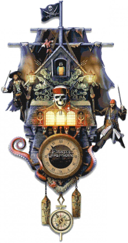 counted cross Stitch pirates caribbean cuckoo clock 242*459 stitches E2155