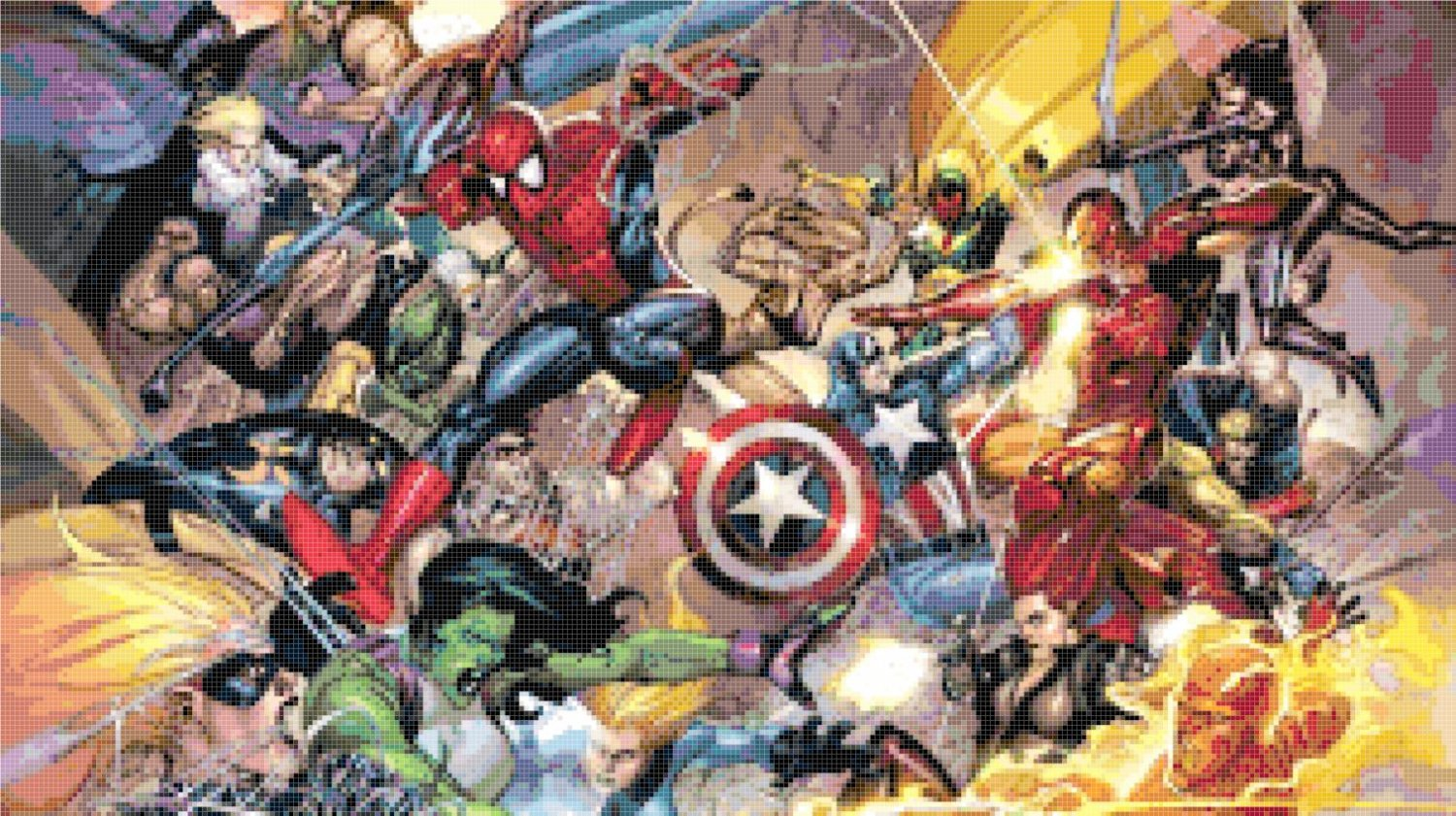 counted cross stitch pattern Marvel superheroes 303*171 stitches E552