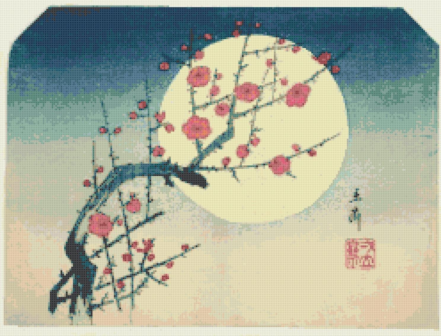 Counted Cross Stitch Kanagawa Hokusai blossom with flower 248*189stitches E1531