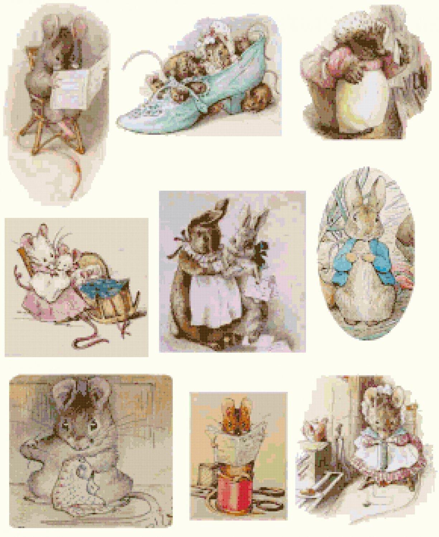counted cross stitch pattern nine scene bunny B. Potter 287*347 stitches E1147