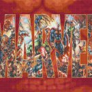 conted cross stitch pattern marvel logo with characters 441*290 stitches E952