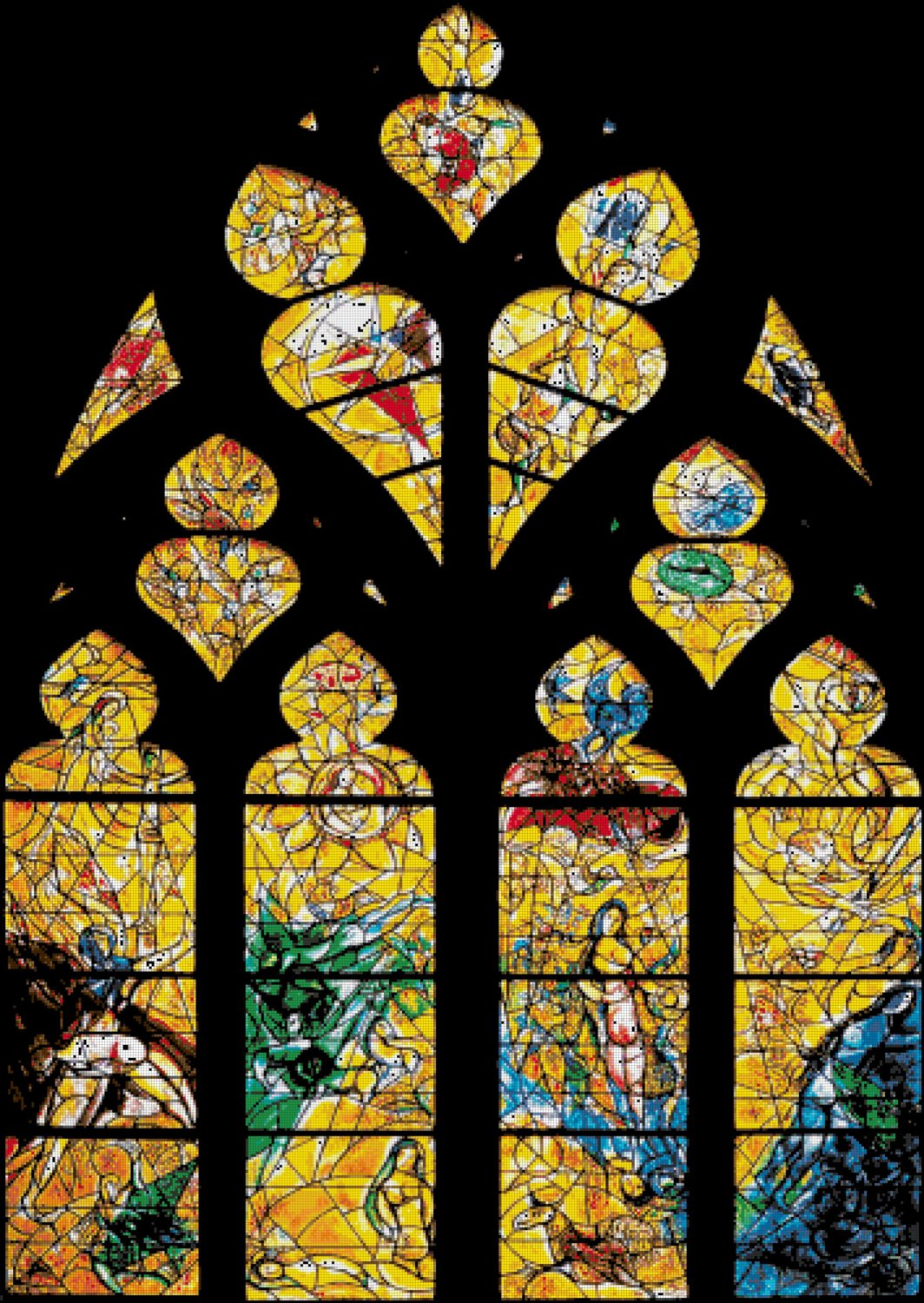 counted cross stitch pattern Chagall Metz Cathedral stained 354*499stitches E2214