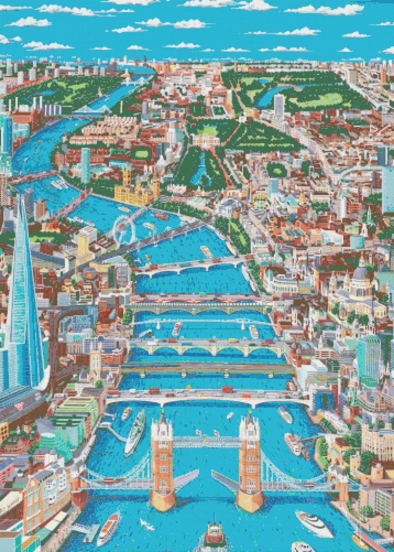 counted Cross Stitch Pattern london map view 358*501 stitches E680