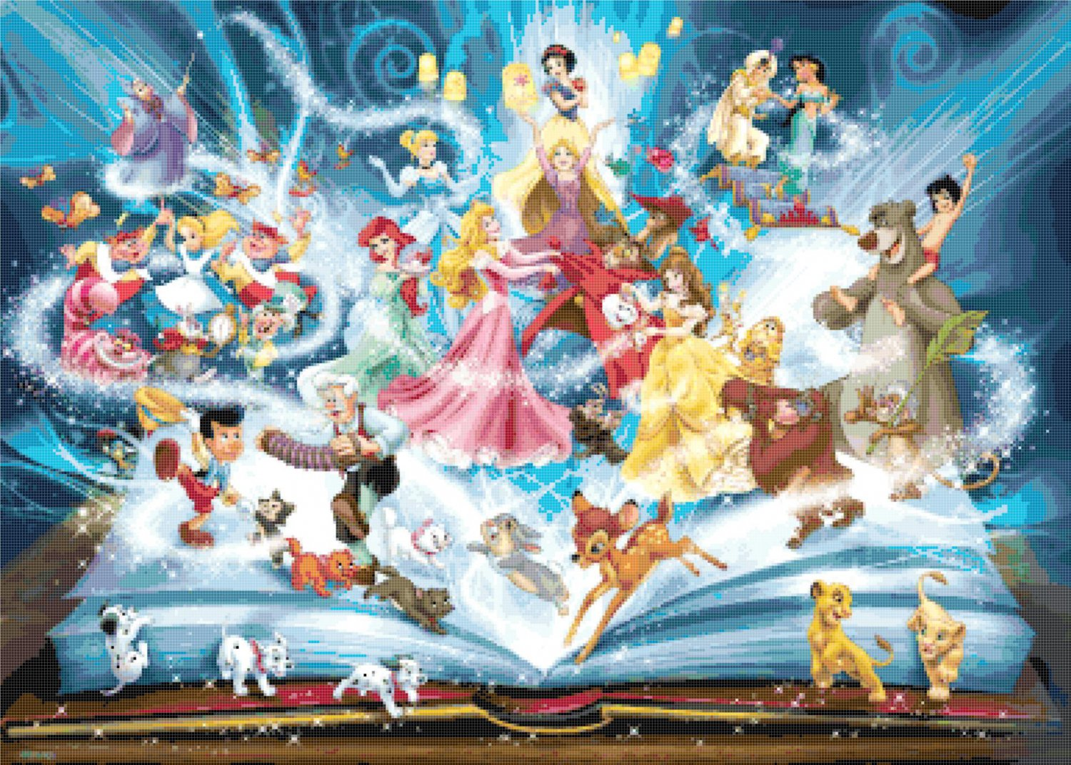 counted Cross stitch pattern disney best themes stained 386*276 stitches E2273