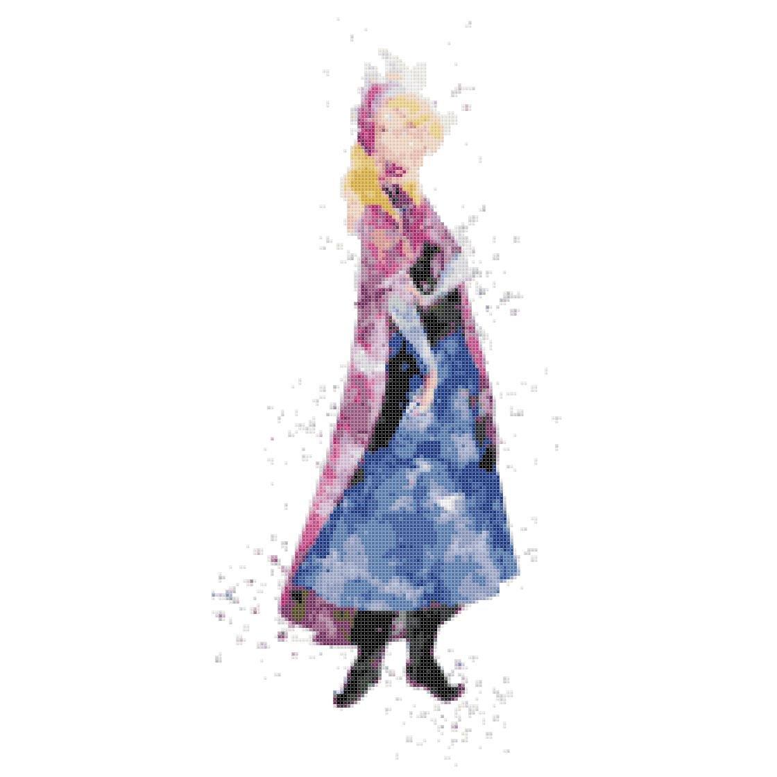 counted cross stitch pattern princess anna watercolor 101 * 216 stitches E1879