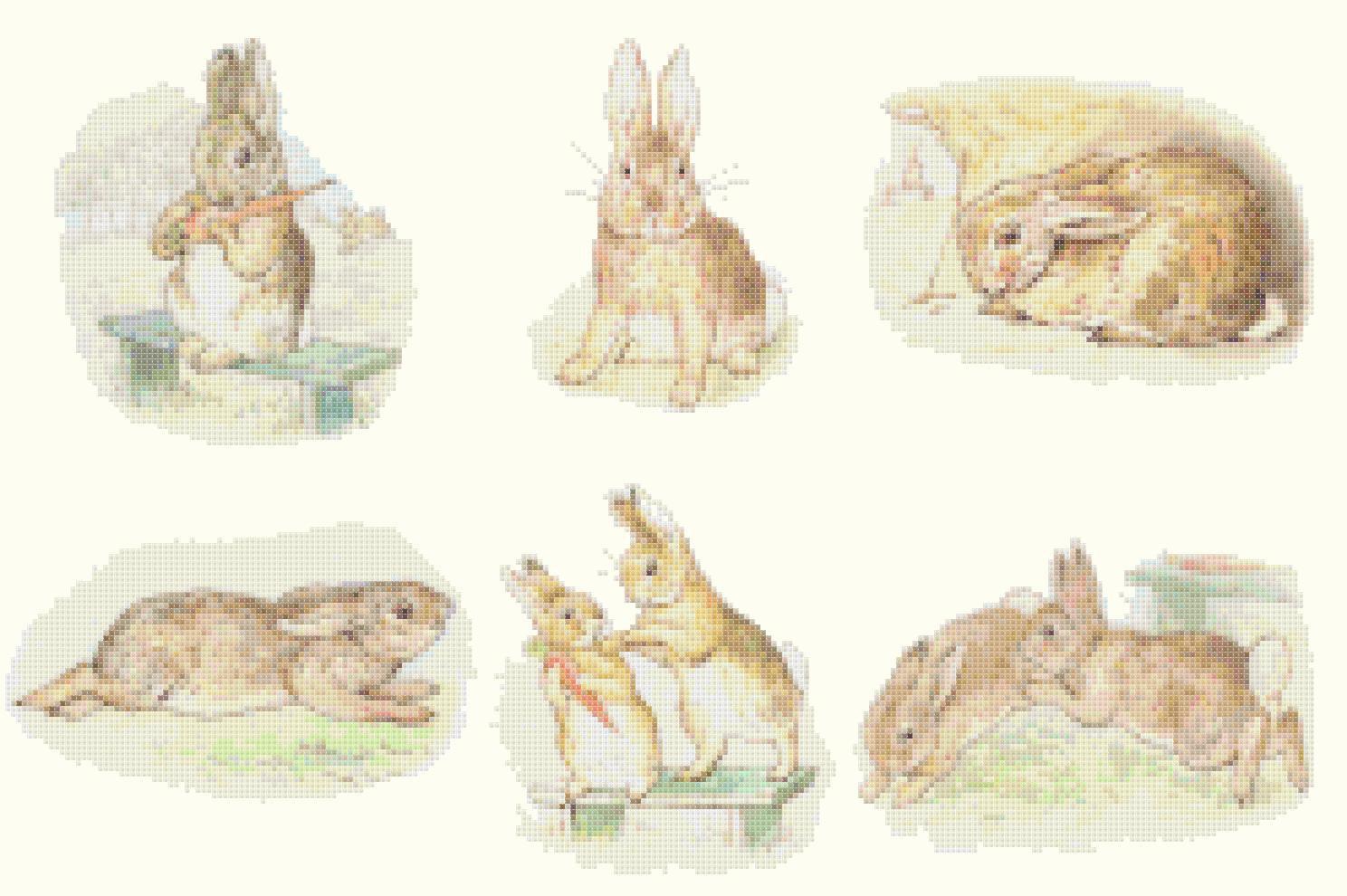 counted cross stitch pattern six scene bad rabbit Potter 241*154 stitches E1156
