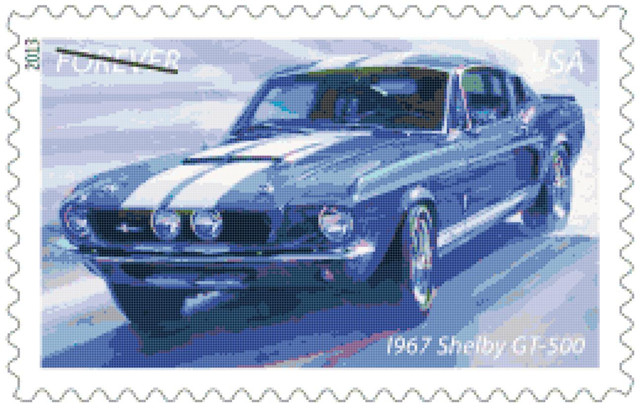 Counted Cross Stitch pattern muscle car shelby GT 500 259 * 165 stitches E002