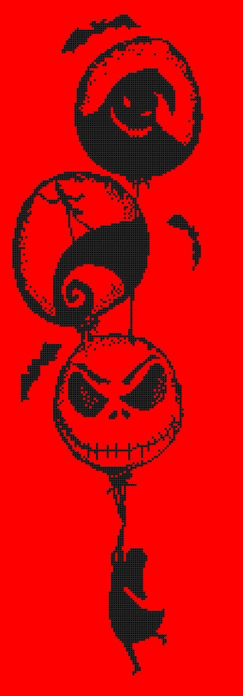 counted cross stitch pattern skellington an sally 89*307 stitches pdf E1435