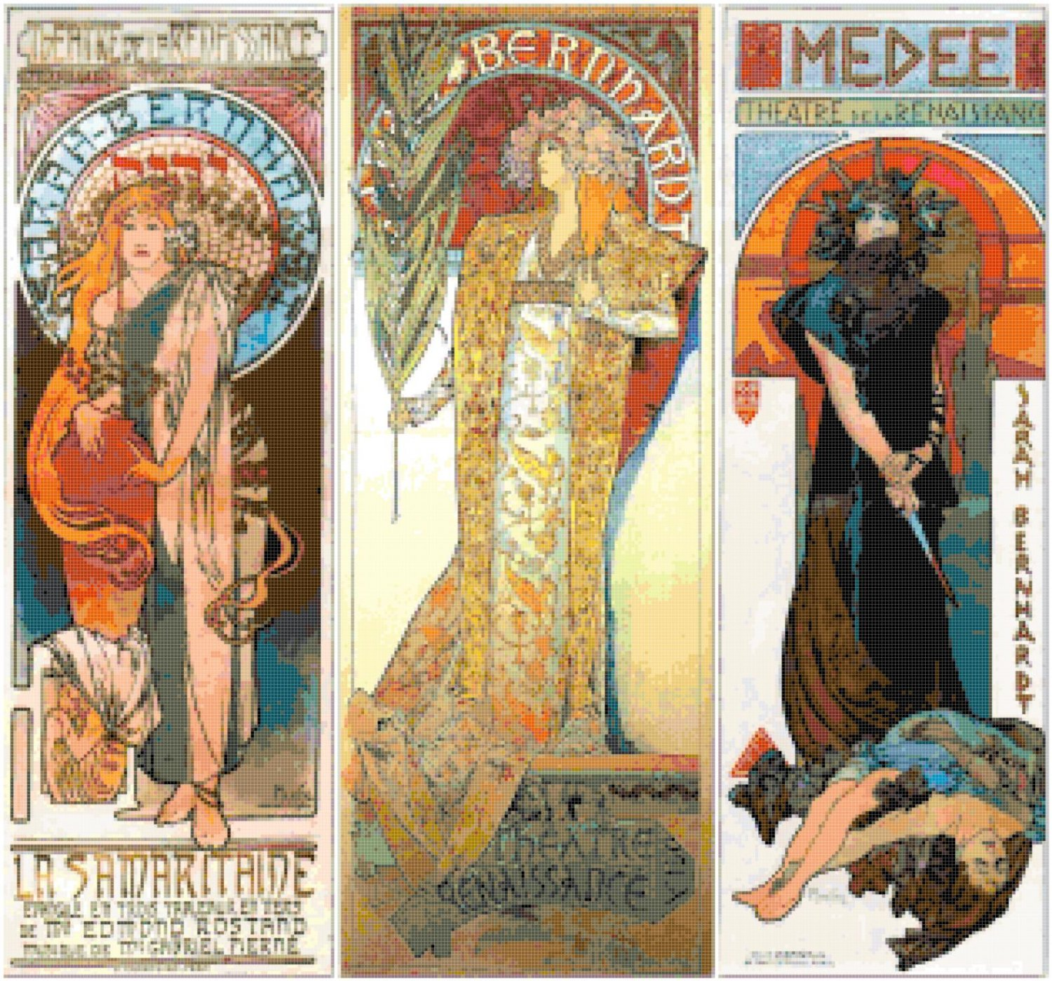 counted cross stitch pattern 3 theatre Mucha stained 313 * 292 stitches E2355