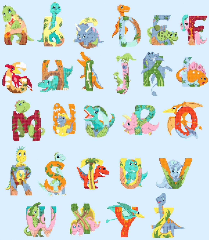 counted cross stitch pattern dinosaurs ABC alphabet 355*407 stitches E2349