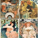 counted cross stitch pattern 4 reclame Mucha stained 313 * 292 stitches  E2354