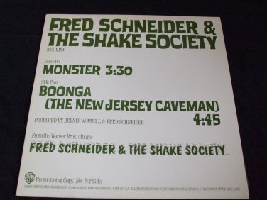 """FRED SCHNEIDER ~ MONSTER 12"""" ULTRA RARE/ NEVER PLAYED / PROMO/ NEW"""
