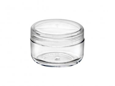 72 piece set of 1/3 oz CLEAR Plastic Jars with Natural Lids