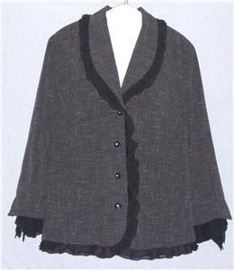 Jessica London 18W Plus Size Jacket Black Ruffle Trim 18 1X