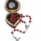 St. Therese Rose Scented 5 mm Wood Rosary in Heart Shaped Case