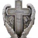 Memorial Cross in Angel Wings Carried to Heaven Garden Statue