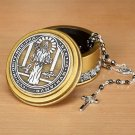 Rosary Box St Benedict Medal Round Catholic Keepsake Holder