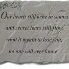 Our Hearts Still Ache Kay Berry Large Memorial Garden Stone USA