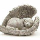 Sleeping Dog in Angel Wings Pet Memorial Statue