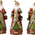 Trio of Santa Figurines w Quilted Coats Christmas Tabletop Figurines 3 pc Set