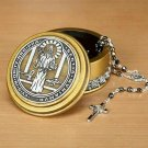 St Benedict Rosary Box Round Catholic Keepsake Holder