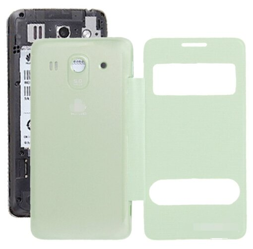 Cloth Texture Horizontal Flip Leather Case + Plastic Back Cover for Huawei Ascend G520 (Green)
