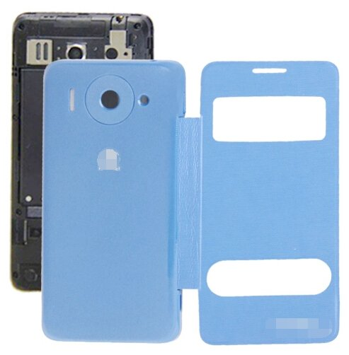 Cloth Texture Horizontal Flip Leather Case + Plastic Back Cover for Huawei Ascend G510 (Blue)