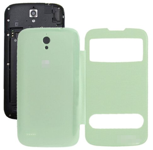 Cloth Texture Horizontal Flip Leather Case + Plastic Back Cover for Huawei Ascend G610S (Green)