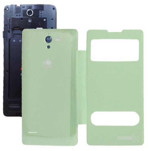Cloth Texture Horizontal Flip Leather Case + Plastic Back Cover for Huawei Ascend G700 (Green)
